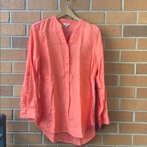 Coral/Pink Linen Blouse with Lace - Medium